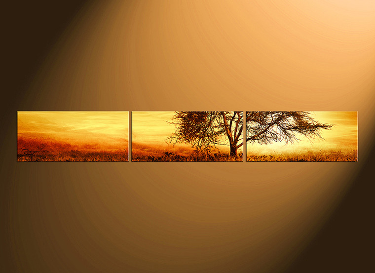 3 piece canvas wall art, home decor, scenery huge pictures, yellow canvas print, tree  large canvas, panoramic canvas photography