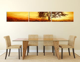 3 piece multi panel canvas, dining room huge canvas art, scenery photo canvas, yellow artwork, tree wall art, panoramic canvas art prints