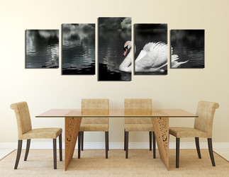 5 piece canvas wall art, dining room multi panel canvas, swan group canvas, black and white canvas print