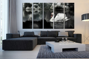 5 piece group canvas, living room canvas photography, black and white canvas wall art, swan canvas print