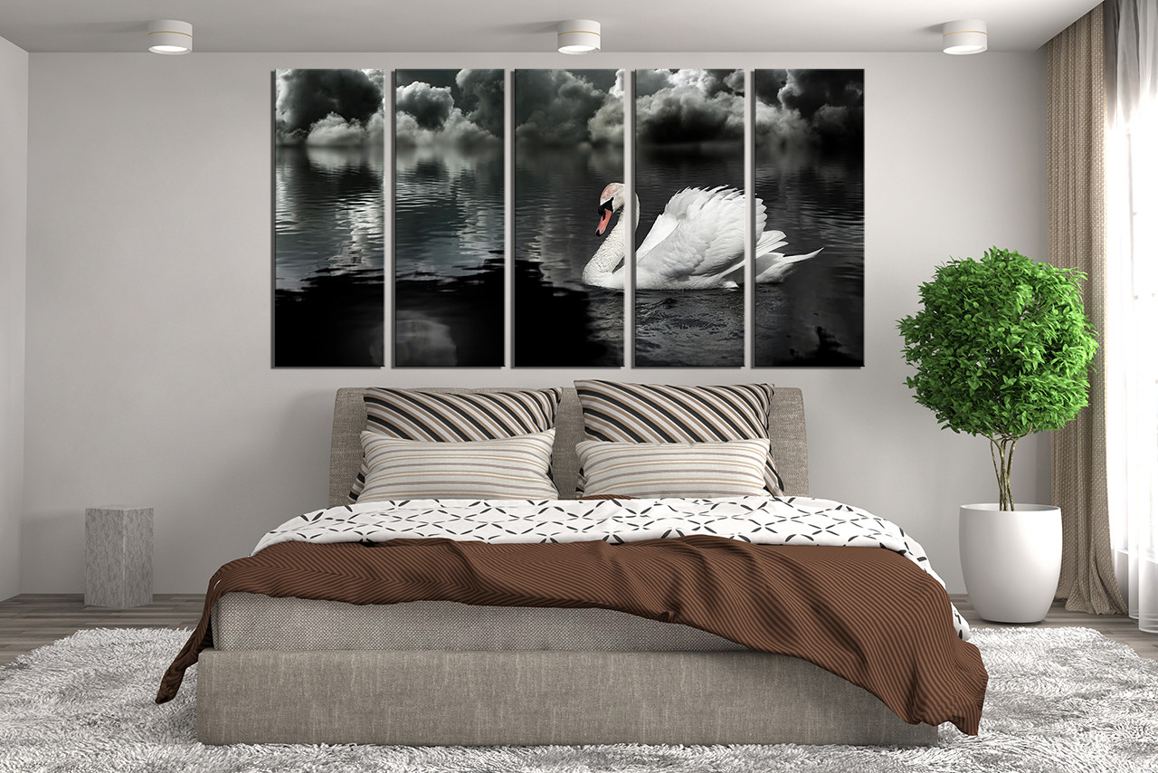 5 piece huge pictures swan canvas photography bedroom multi panel art black and