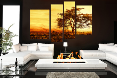4 piece canvas print,living room group canvas, scenery huge pictures, yellow artwork, tree wall art, autumn multi panel canvas