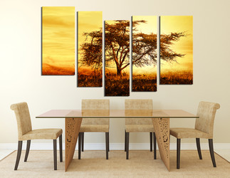 5 piece large canvas, dining room wall decor, scenery canvas print, yellow artwork, tree large pictures, autumn large canvas