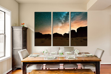 3 piece huge canvas print, brown mountain wall art, landscape canvas photography, dining room multi panel canvas