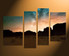 4 piece artwork, landscape canvas wall art, brown mountain canvas photography, home decor