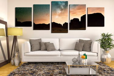 5 piece wall art, living room large pictures, brown landscape wall decor, panoramic huge canvas print