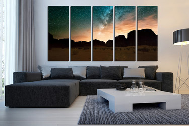 5 piece canvas wall art, landscape large pictures, brown mountain huge canvas art, living room multi panel canvas