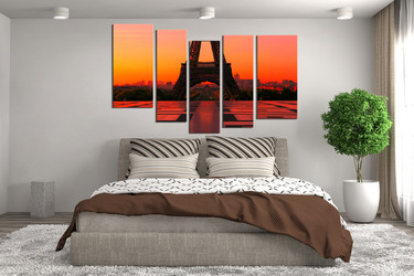 5 piece wall art, city multi panel art, orange huge canvas art, bedroom canvas wall art, eiffel tower art