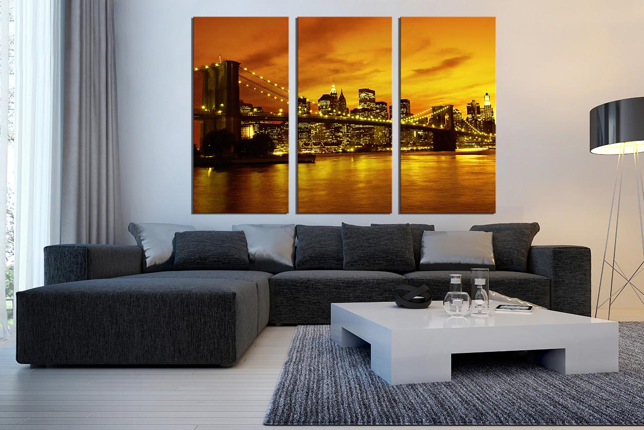 3 Piece Canvas Art Prints City Light Canvas Photography City Large Pictures Yellow Wall Decor Bridge Huge Canvas Print