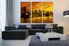 3 piece wall decor, city wall art, yellow city photo canvas, city light wall decor, living room wall art