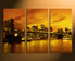 3 piece canvas prints, city light large canvas, yellow city huge canvas art, bridge artwork, home decor