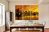 3 piece large canvas, dining room group canvas, city yellow canvas print, bridge wall  art, city large pictures