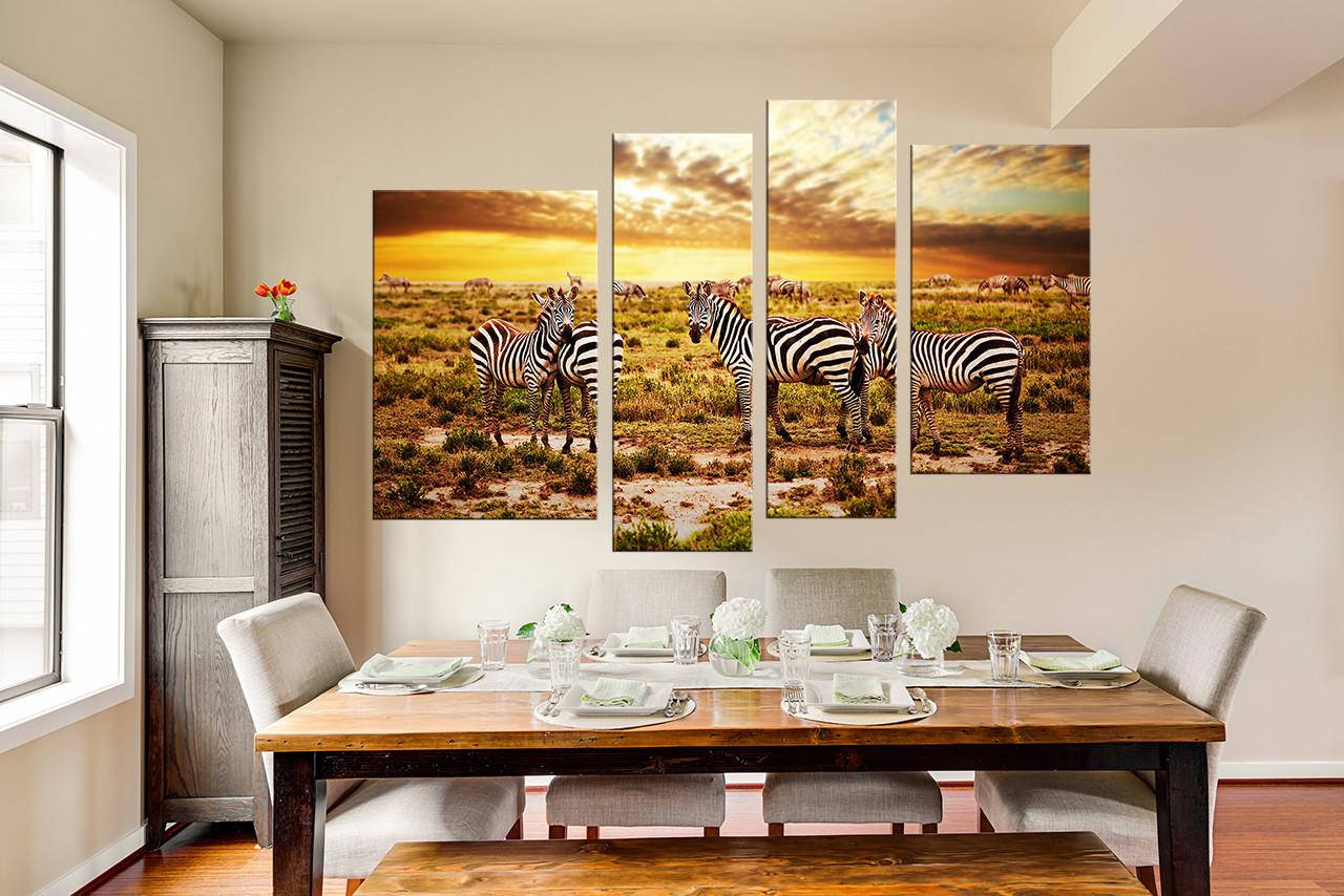 4 Piece Canvas Art Prints, Zebra Huge Canvas Print, Yellow Photo Canvas,  Wildlife Wall Decor, Grassland Multi Panel Canvas