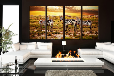 4 piece group canvas, living room canvas wall art, yellow wildlife canvas print, zebra huge canvas print, animal artwork