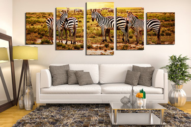 5 piece canvas wall art, living room multi panel canvas, zebra huge canvas art, wildlife decor, wildlife group canvas