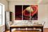 3 piece canvas wall art, dining room wall decor, landscape huge pictures, orange artwork, saturn canvas print, mountain huge canvas art