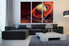 3 piece photo canvas, living room artwork, landscape wall decor, orange multi panel art, saturn art, mountain canvas wall art