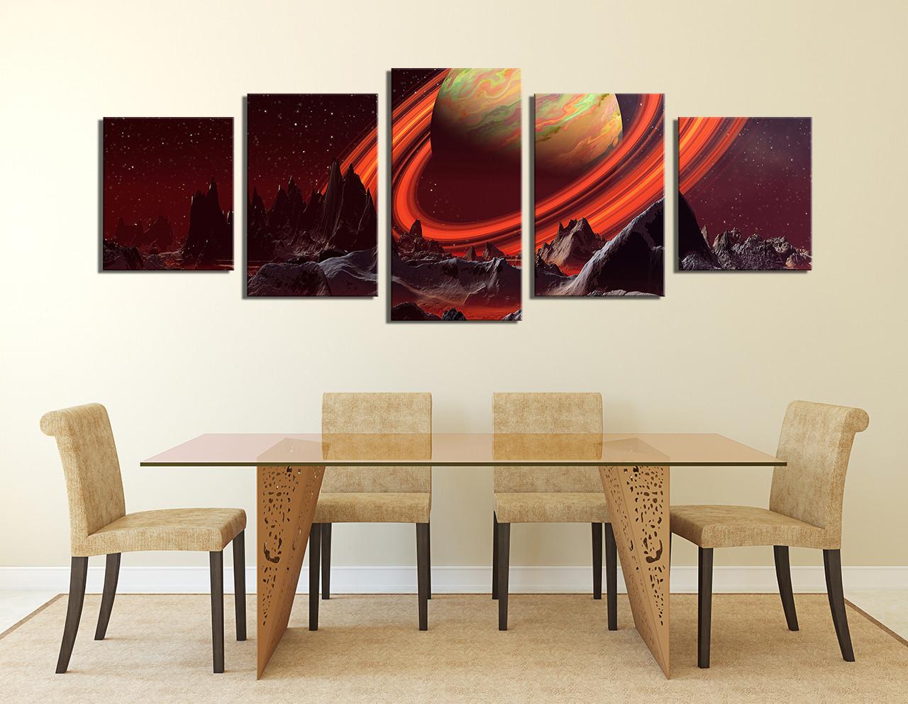 5 Piece Artwork Landscape Large Pictures Orange Canvas Wall Art