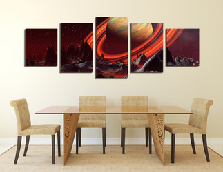 5 piece artwork, dining room canvas wall art, landscape large canvas, orange huge canvas art, saturn multi panel art, panoramic canvas print