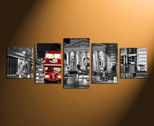 5 piece photo canvas, black and white city, city artwork, city home decor, grey city art