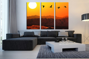 3 piece photo canvas, living room canvas print, orange multi panel art, bird artwork,  landscape canvas print