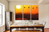 3 piece canvas wall art, dining room group canvas, orange multi panel canvas, mountain canvas photography