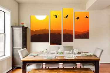 4 piece canvas wall art, dining room huge pictures, orange artwork, bird canvas print, mountain multi panel canvas