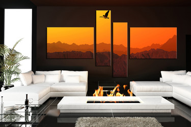 4 piece group canvas, orange large pictures, bird canvas wall art, mountain canvas photography, landscape artwork