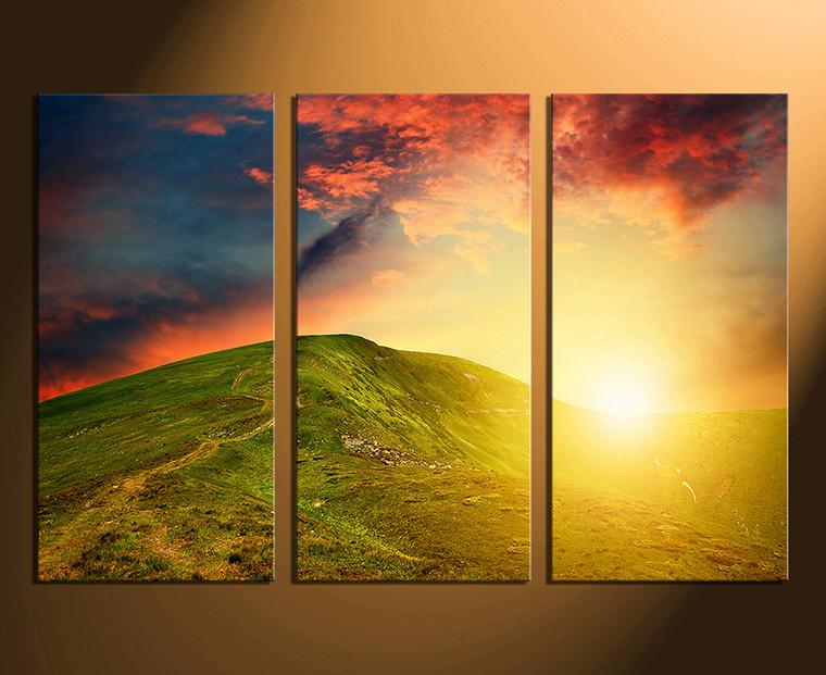 3 piece canvas wall art, home decor, landscape huge pictures, orange artwork, sunshine photo canvas, mountain canvas print