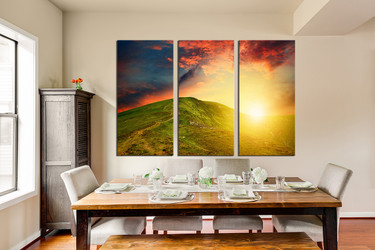 3 piece huge canvas art, dining room multi panel canvas, landscape canvas art prints, orange art, sunshine canvas photography, mountain large pictures