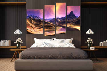 4 piece wall decor, purple sky huge pictures, bedroom wall art, landscape large canvas, mountain multi panel art