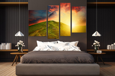 4 piece multi panel canvas, bedroom photo canvas, landscape art, orange huge canvas print, sunshine multi panel canvas, mountain artwork