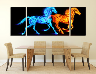 3 piece huge canvas print, dining room canvas wall art, horse group canvas, animal art, wildlife multi panel canvas