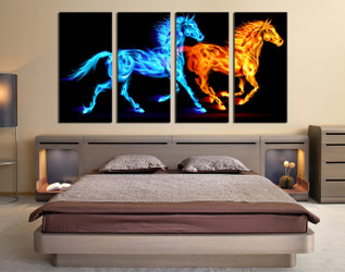 4 piece multi panel art, bedroom canvas photography, horse wall art, wildlife photo canvas, animal artwork