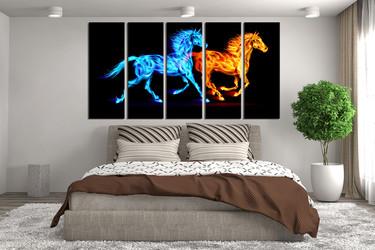 5 piece large pictures, blue horse wall decor, orange horse canvas print, wildlife canvas print, bedroom canvas art prints