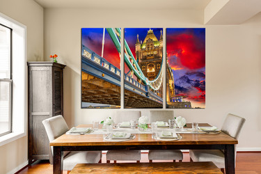 3 piece group canvas, dining room artwork, city large canvas, bridge huge canvas art, colorful city  art