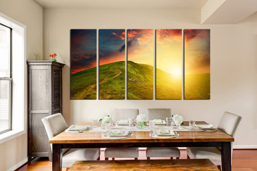 5 piece canvas photography, dining room huge canvas art, landscape multi panel canvas, orange wall art, sunshine canvas print, mountain artwork