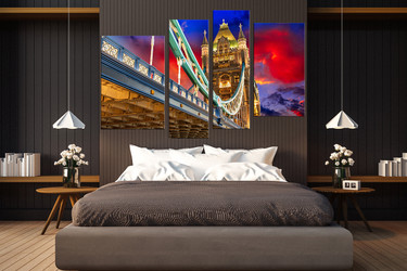 4 piece large canvas, bedroom group canvas, colorful artwork, city light group canvas,  city wall decor
