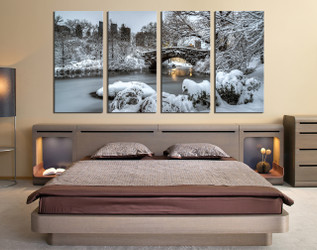 4 piece canvas wall art, bedroom photo canvas, scenery large pictures,  snow white large canvas, white snow art
