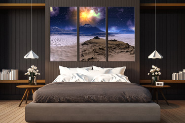 3 piece canvas wall art, bedroom wall decor, landscape canvas print, blue canvas photography, stars multi panel canvas, mountain sands huge pictures