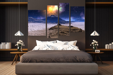 4 piece canvas wall art, bedroom canvas print, landscape huge canvas art, blue multi panel canvas, stars artwork, mountain sands huge pictures