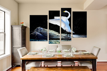 4 piece photo canvas, dining room wall art, swan multi panel art, wildlife canvas photography, swan huge pictures