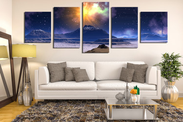5 piece large pictures, living room canvas wall art, landscape canvas print, blue multi panel art, stars canvas photography, panoramic large canvas