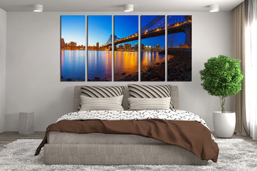 5 piece multi panel art,  bedroom huge canvas print, blue photo canvas, bridge canvas print, city large canvas