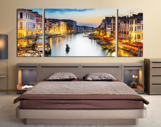 3 piece  wall decor, bedroom group canvas, yellow city large pictures, bedroom wall art, gondola huge canvas art