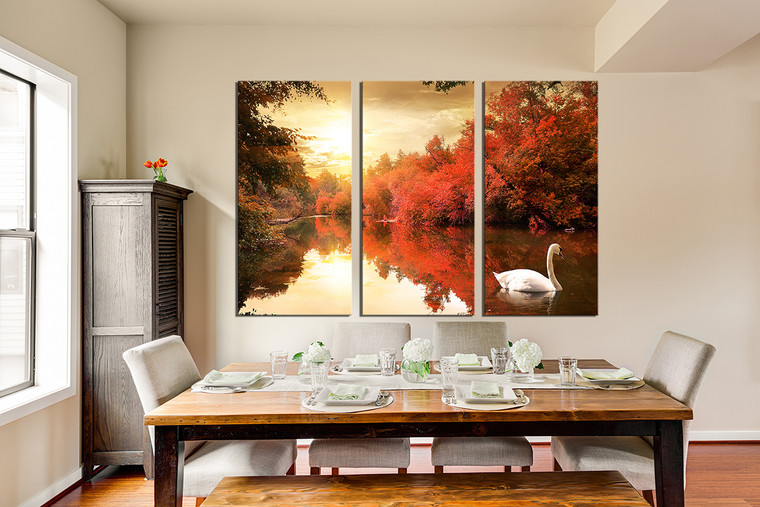 3 piece large pictures, dining room canvas photography, orange multi panel canvas, scenery huge canvas art, swan artwork