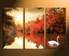 3 piece group canvas, scenery canvas print, swan orange wall art, scenery multi panel art, nature canvas photography, home decor