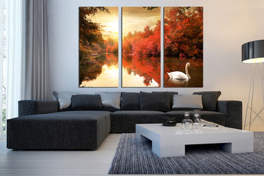 3 piece group canvas, living room multi panel canvas, scenery huge pictures, nature canvas print, swan art