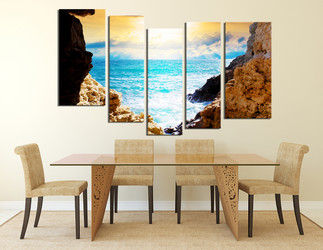 5 piece photo canvas, dining room canvas wall art, blue ocean multi panel art, mountain canvas photography