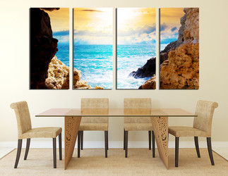 4 piece canvas wall art, mountain huge pictures, blue ocean artwork,  dining room wall decor